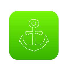 anchor icon green vector image
