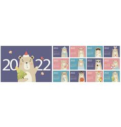 Annual calendar template 2022 with a cute bear vector