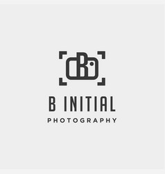 b initial photography logo template design vector image