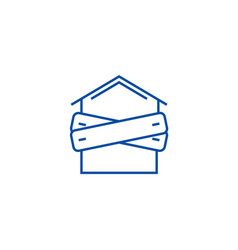 Bankruptcyboarded up house line icon concept vector