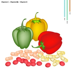 Bell Peppers with Vitamin C B6 and K vector image