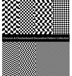 black and white chevron checkered collection vector image