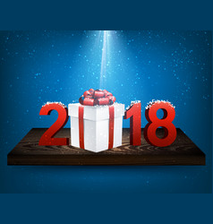 blue 2018 background with gift box vector image