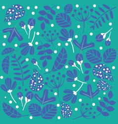 blue green pattern flowers and leaves background vector image