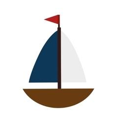 boat sea ship flag vector image