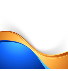 Bright swoosh border abstract blue gold background vector