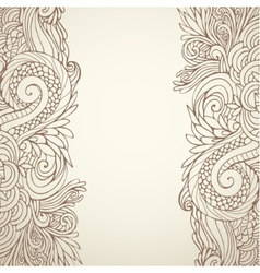Brown outline floral on light 01 vector