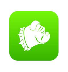 bulldog dog icon digital green vector image