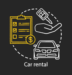 Car rental chalk icon automobile rent leasing vector