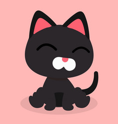 cartoon black cat smile emotion pink background ve vector image