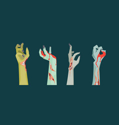 cartoon zombie hand icons set on a dark vector image