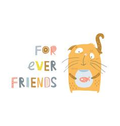 cat and fish friendship vector image