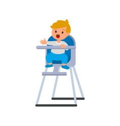 child boy in bahighchair with plate porridge vector image