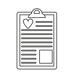 Clipboard heart report thin lin vector
