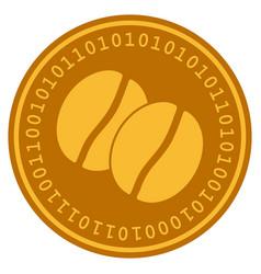 Coffee beans digital coin vector