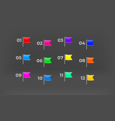 Color flag bullets with digits map pins vector