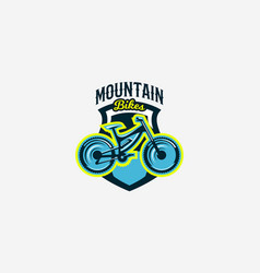 Colorful logo emblem mountain bike icon bicycle vector