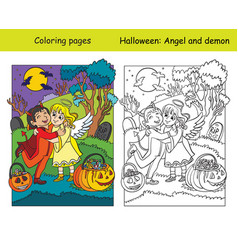 Coloring with colored example halloween angel vector