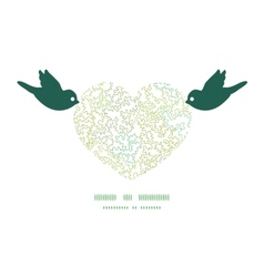 Curly doodle shapes birds holding heart vector