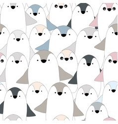 Cute baby penguin seamless pattern vector