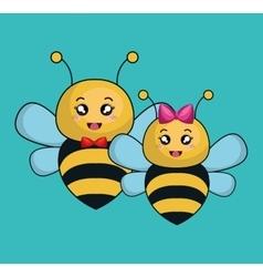 Cute bee stuffed icon vector
