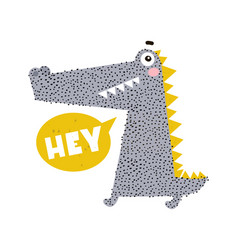 cute cartoon crocodile print childish print for vector image