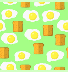 eggs and bread seamless pattern on green vector image