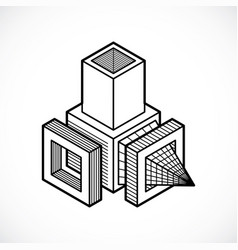 Engineering abstract shape polygonal figure vector