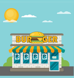 facade of burger shop flat vector image