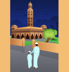 Father and son going to mosque vector