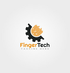 fingerprint and gear logo design vector image