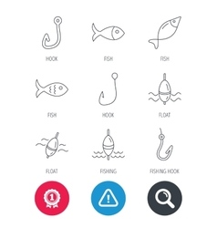 Fishing hook and float icons Fish waves signs vector