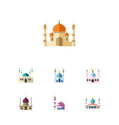 Flat icon minaret set of islam muslim religion vector