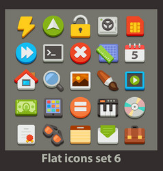 Flat icon-set 6 vector