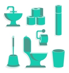 Flat Toilet Icons vector
