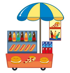 Food vendor with hotdog and drinks vector