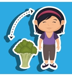 Girl cartoon broccoli vegetable vector