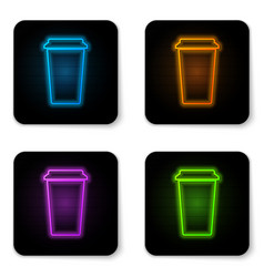 glowing neon coffee cup icon isolated on white vector image