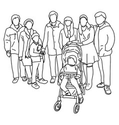 group big family with child in pram vector image
