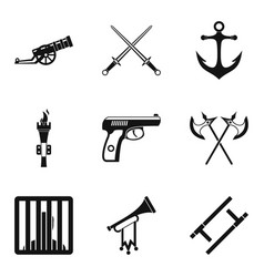 gun icons set simple style vector image