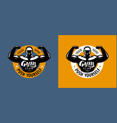 gym club logo or label bodybuilding emblem vector image