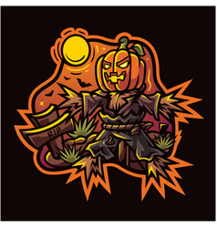 halloween pumpkin esport mascot logo vector image