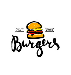 hand drawn fast food burger cartoon logo vector image
