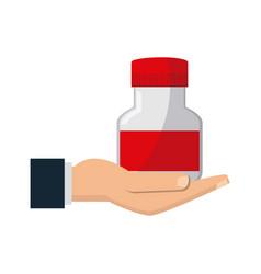 hand with bottle medicine equipment veterinary vector image