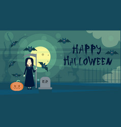 happy halloween greeting card death at night on vector image