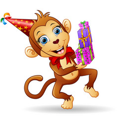Happy monkey cartoon celebrating birthday vector