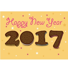 Happy New Year 2017 Chocolate cookies vector