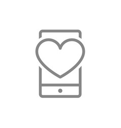 heart with phone feedback line icon love message vector image
