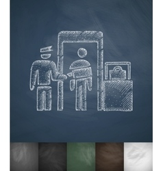 Inspection at airport icon hand drawn vector