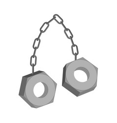 iron nuts on chain isolated two screw-nut hang vector image